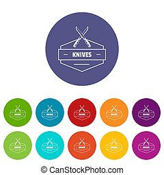 Knive icons set color - Knive icons color set for any web...
