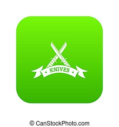 Knive shop icon green isolated on white background