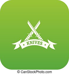 Knive shop icon green vector isolated on white background