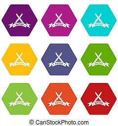 Knive shop icons set 9 - Knive shop icons 9 set coloful...