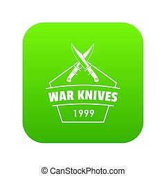 Knive war icon green isolated on white background