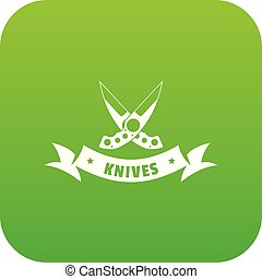 Knive weapon icon green vector isolated on white background