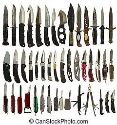 kniver, isoleret, på, en, hvid baggrund