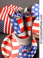 Knives and forks presented in a 4th of July theme - Several...