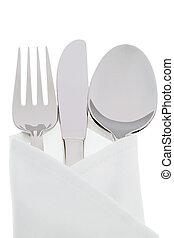 Knives, forks and plates - A knife with a fork and plate. ...