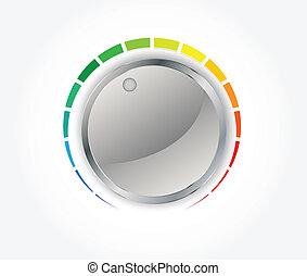 knob), botón, metal, textura, (music, volumen