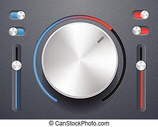 Knob - Metallic knob with switches vector illustration