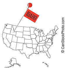 An outline map of USA with a knob pin in the state of Idaho
