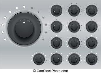 illustration set of knob with led light level