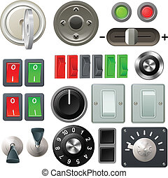 Knob switch and dial design elements - A set of knobs,...
