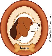 knochen, beagle, porträt, hund, rahmen