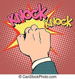 Knock door hand pop art retro style