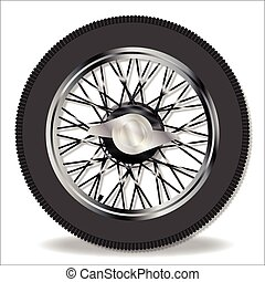 A traditional knock on wire spoke sports car wheel and tyre