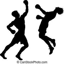 Editable vector silhouette of boxer knocking out his opponent with an uppercut punch