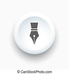 knoflík, pero, kašna, neposkvrněný, 3, ikona