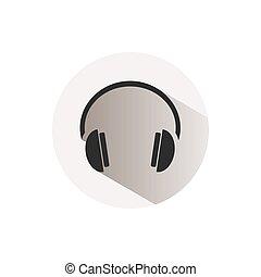knoflík, sluchátka, běloba grafické pozadí, ikona
