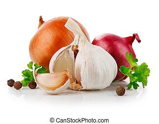 knoflook, en, ui, groentes, met, peterselie, specerij
