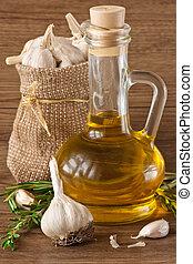 knoflook, olijvenolie, en, rosemary.