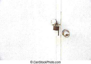 knolder dør, og, låser, var!, closed.