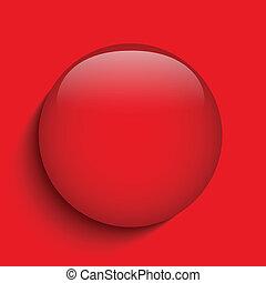 knoop, alarm, glas, achtergrond, cirkel, rood