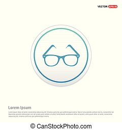knoop, -, cirkel, bril, witte , pictogram