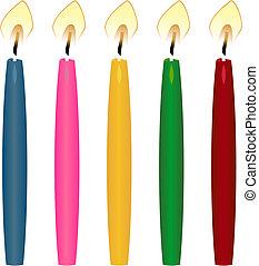 knoop, colour., vorm, papier, gevarieerd, kaarsje, grootte