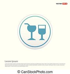knoop, drank, -, glas, cirkel, witte , pictogram