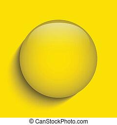 knoop, gele, glas, achtergrond, cirkel, witte