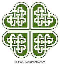 knoop, gevormd, klavertje, keltisch, 4-leaf