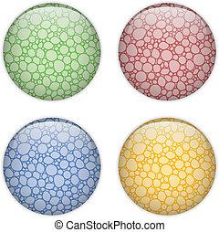 knoop, glas, cirkel, bellen, kleurrijke