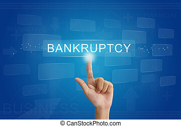 knoop, hand, drukken, aanraakscherm, faillissement