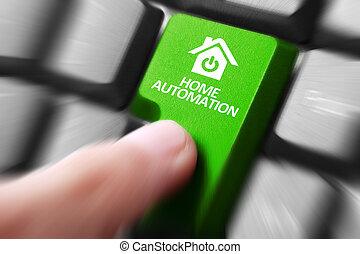 knoop, hand, toetsenbord, drukken, thuis automatisering