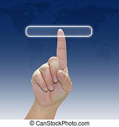 knoop het duwen, hand, beroeren, interface, scherm