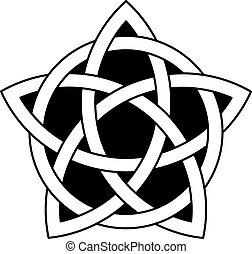 knoop, keltisch, vector, 5-point, ster
