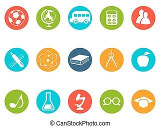 knoop, opleiding, set, iconen