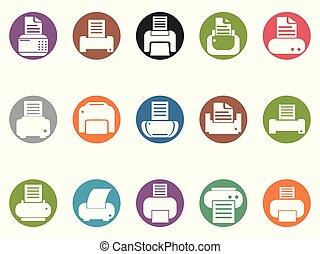 knoop, printer, set, ronde, iconen