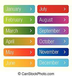 knoop, set, jaar, maand