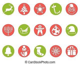 knoop, set, kerstmis, ronde, iconen