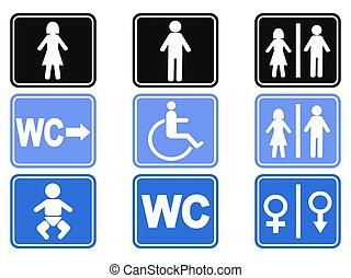 knoop, set, wc, iconen