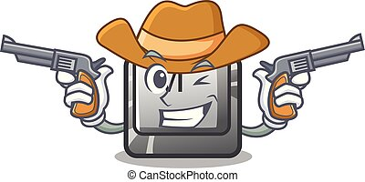 knoop, toetsenbord, m, mascotte, cowboy