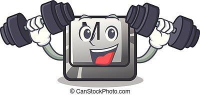 knoop, toetsenbord, m, mascotte, fitness