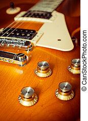 knop, controle, van, elektrische guitar, op, vloer