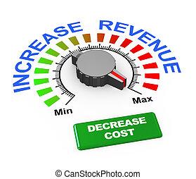 knop, inkomsten, -, verhogen, kosten, vermindering, 3d