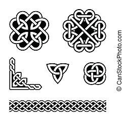 knopar, mönster, keltisk, vektor, -