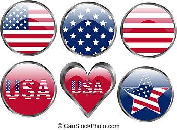 knopen, amerikaan, set, vlag