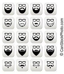knopen, bril, hipster, baard