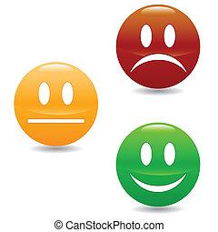 knopen, glimlachen, gekleurde