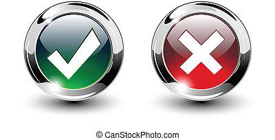 knopen, &, iconen, kruis, meldingsbord, tick