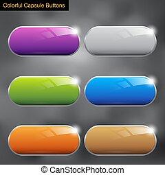 knopen, kleurrijke, capsule