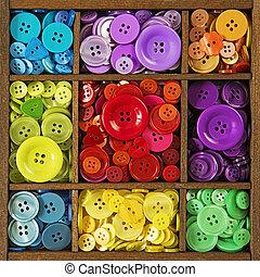 knopen, kleurrijke